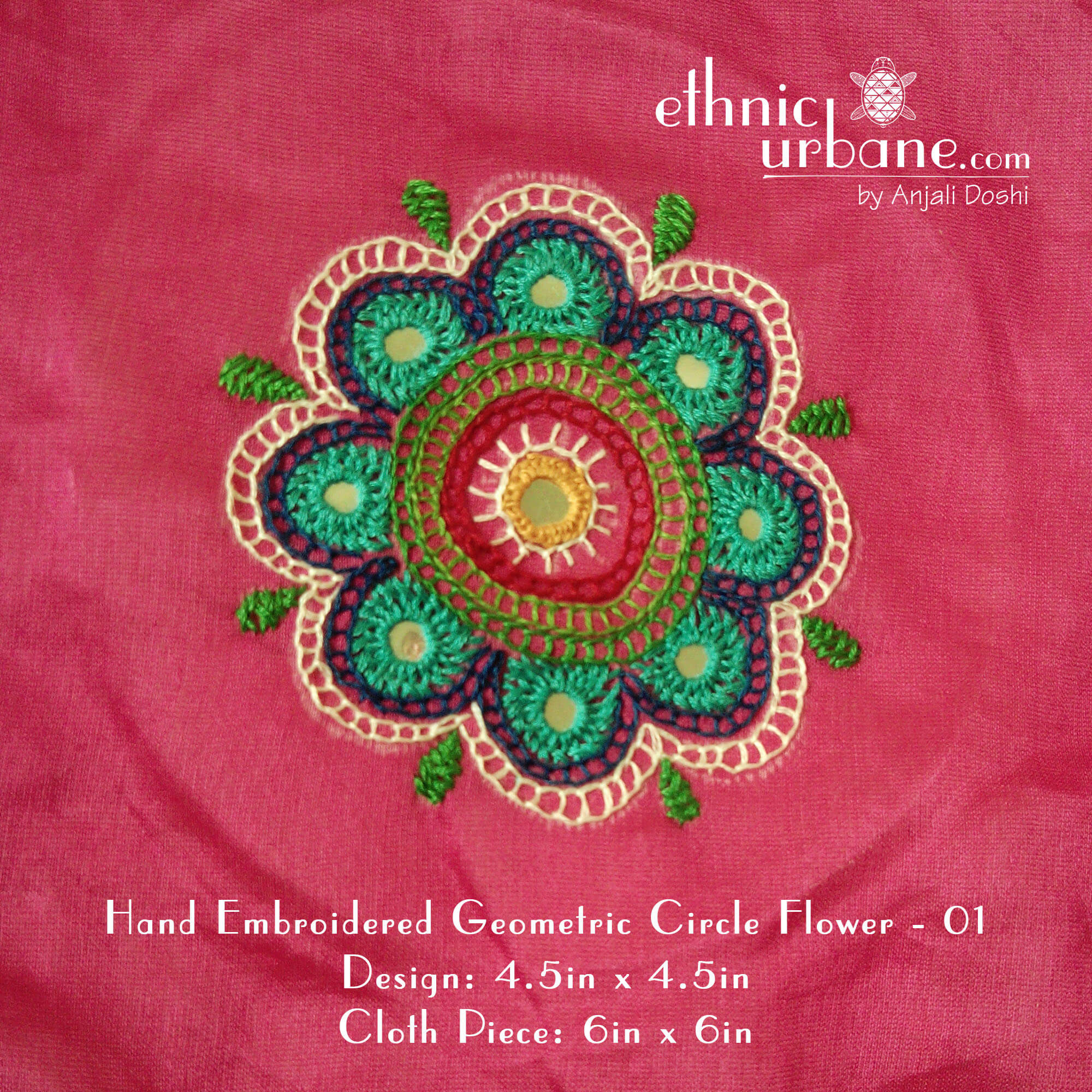 Hand Embroidered Geometric Circle Flower  01  Ethnic