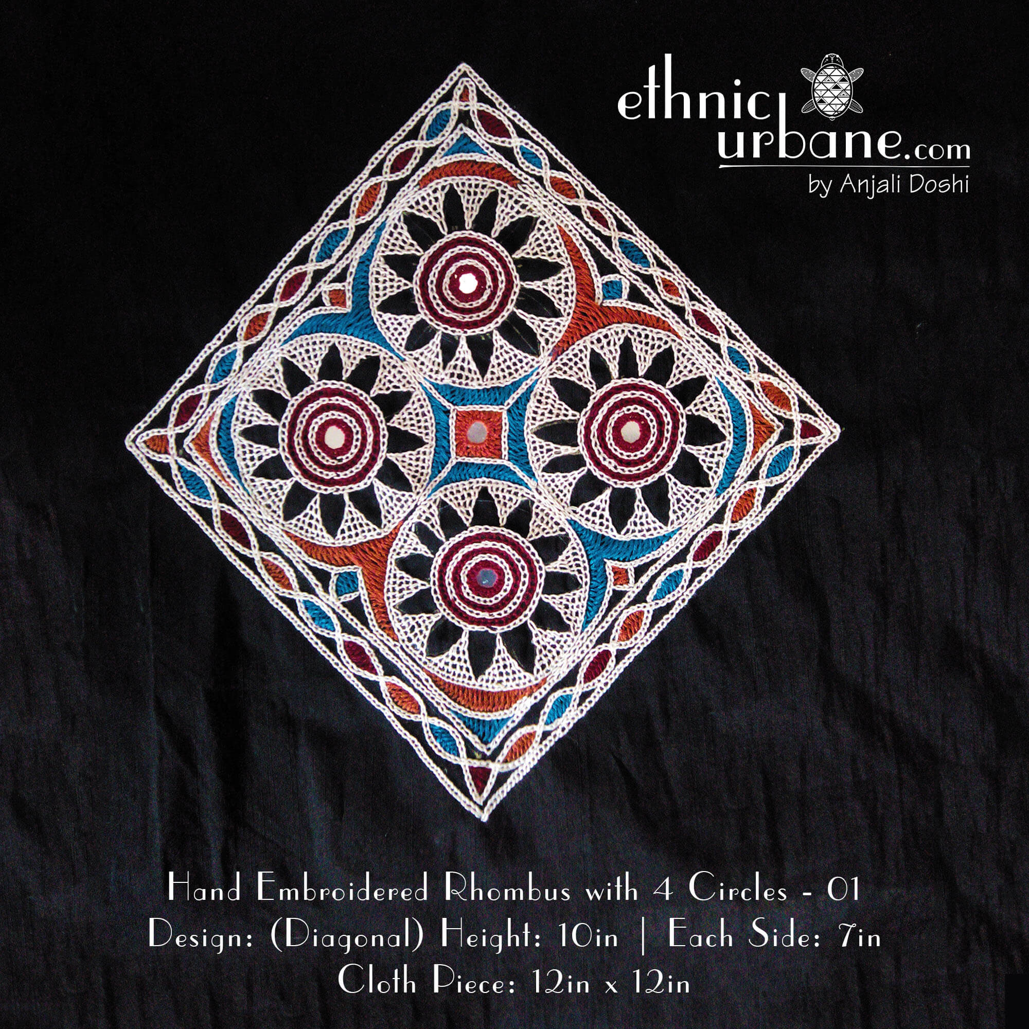 Hand Embroidered Rhombus With 4 Circles  01  Ethnic