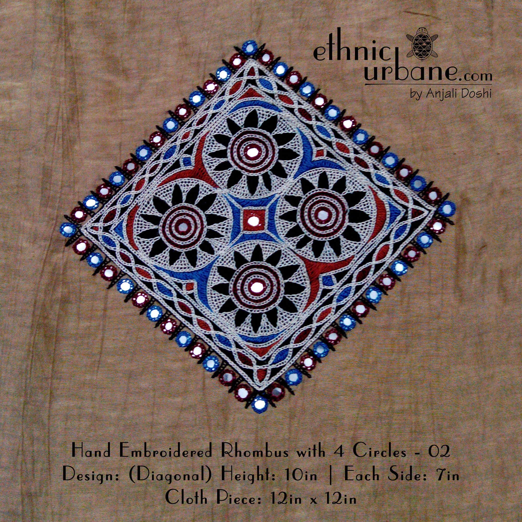 Hand Embroidered Rhombus With 4 Circles  02  Ethnic